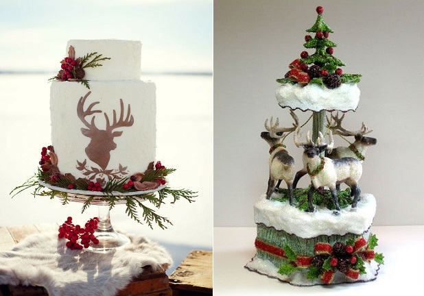 stag's head wedding cake by Dana Smyl left, Precious Pictures Photography via Style Me Pretty, reindeer cake right by Patricia Minish Designs.com
