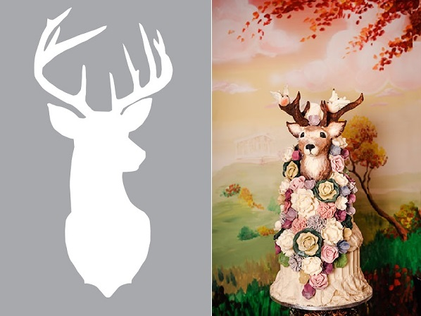 stag's head wedding cake in chocolate by Choccywoccydoodah right, deer silhouette stencil by All Thyme Greatest