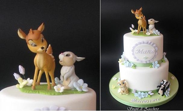 woodland animals cakes, Bambi cake by Sogni di Zucchero
