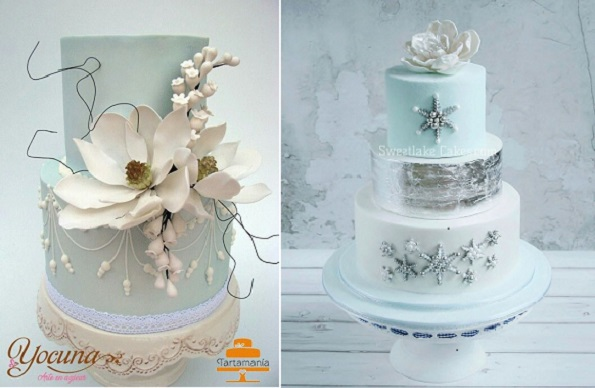 2 pale blue winter wedding cakes by Yocuna left and Sweetlake Cakes right