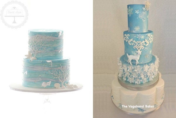 3 snow scene cakes by Sweet Love Cake Couture left and The Vagabond Baker right
