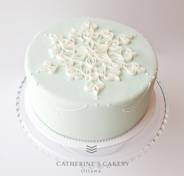 quilled snowflake cake by Catherine's Cakery, Ottawa