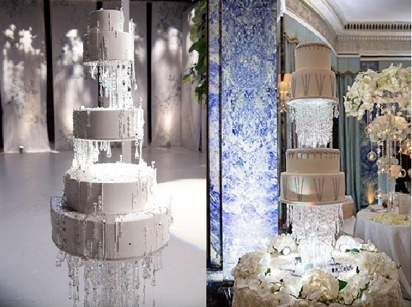 chandelier winter wedding cakes by Ron Ben Israel wedding cake left, right by The Cake Emporium, Cristina Rossi Photography