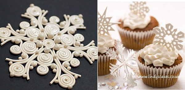 quilled snowflake via Pinterest left, snowflake cutters from Lindy Smith