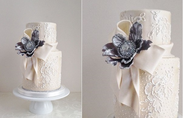 4. winter wedding cake in lace by The Cake Whisperer