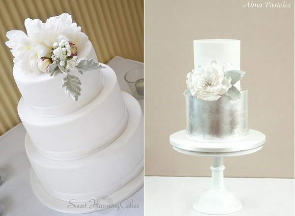 4. winter wedding cakes by Sweet Harmony Cakes left and Alma Pasteles right