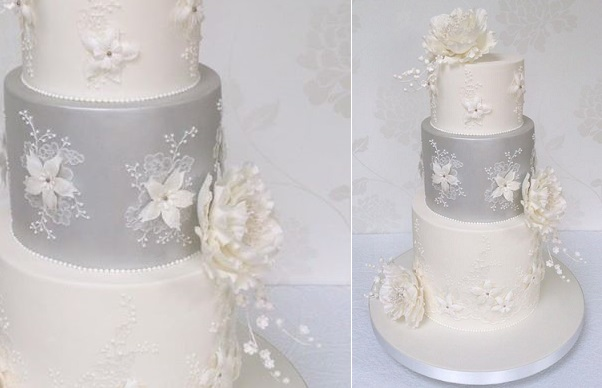 7. winter wedding cake with lace by Bellissimo Cakes UK