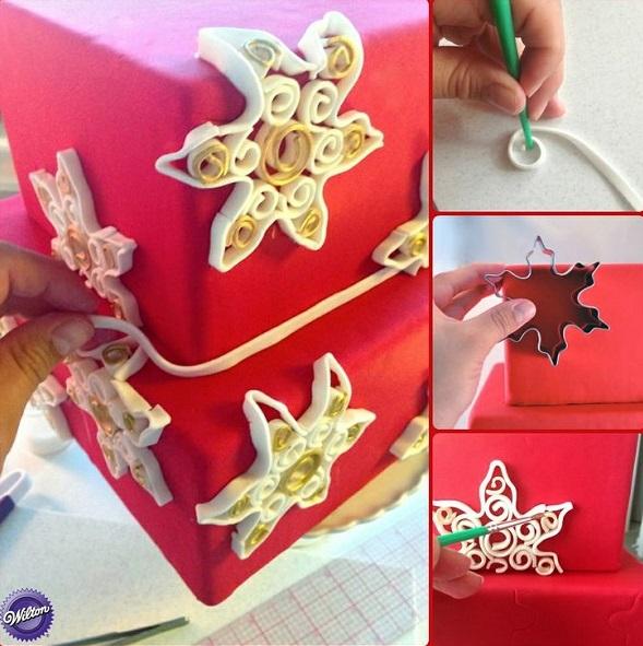 fondant snowflakes quilling tutorial Christmas cake via Wilton