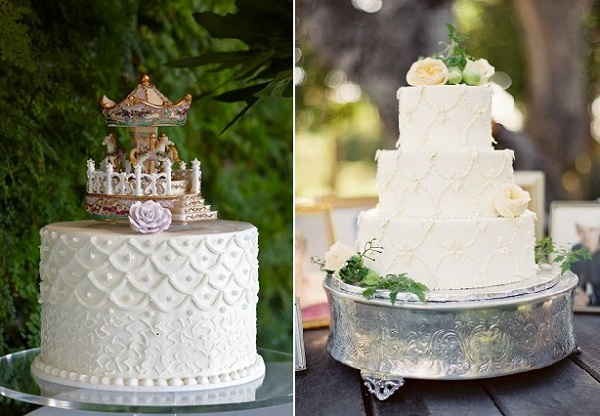 scallop piping cakes by Ms. B's Cakery left, right Parker Lusseau Cakes and Pastries, Jose Ville Photography