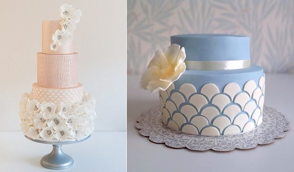 scalloped cake designs by Coco Cakes left and Morningside Bakes UK right