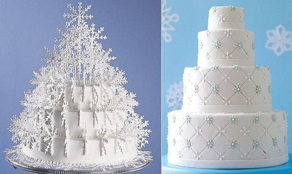 snowflake wedding cake by Wilton left and by Colette Foley right