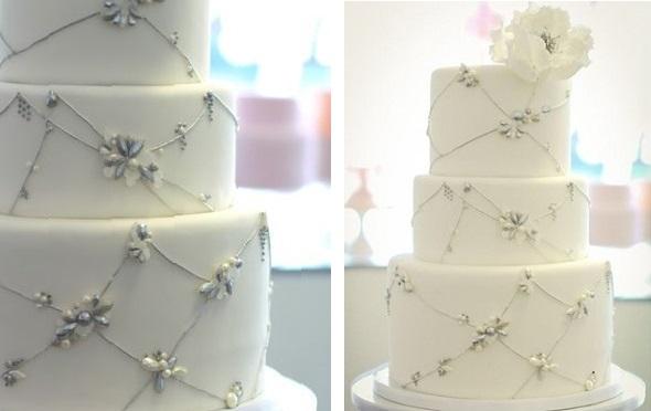 winter wedding cake by Sweet & Saucy, jewelled wedding cake