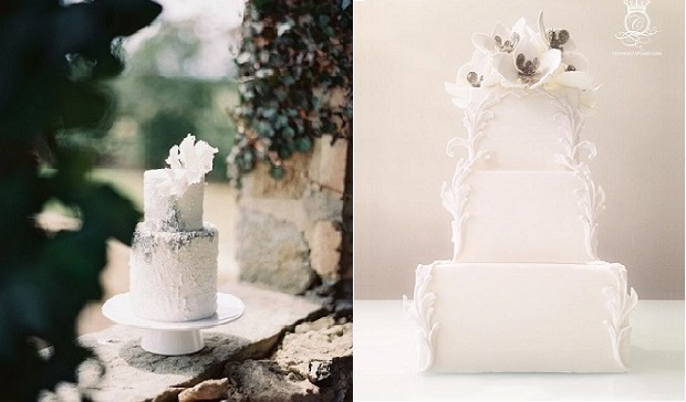 winter wedding cake designs by Maggie Austin left and The White Cakery right