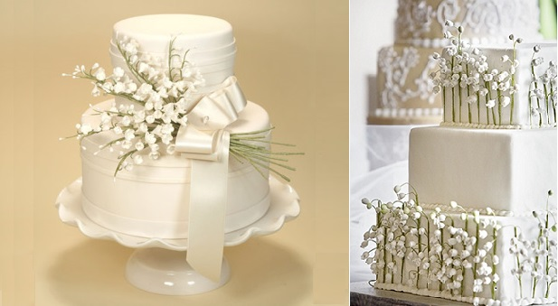 Lily of the Valley wedding cake via Martha Stewart Weddings left, and by Lulu's Bakery, right
