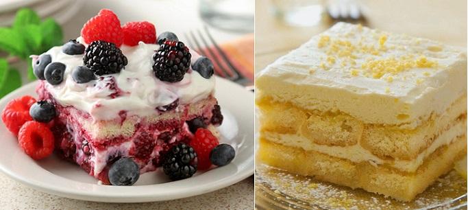 Mixed berries tiramisu left (image via ShopRite), Lemon Tiramisu from Hanneica's Kitchen blog right