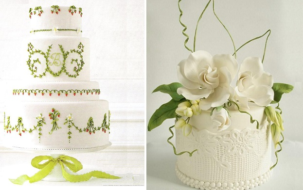 Spring woodland wedding cakes by Wendy Kromer Confections left for Martha Stewart Weddings, right by Brennie's Cake House