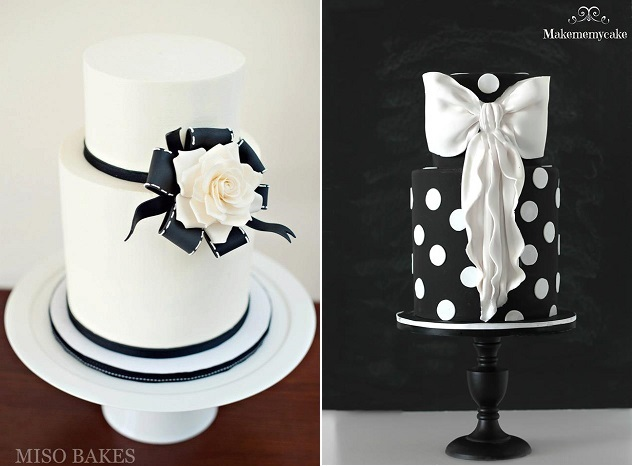 bow wedding cakes by Miso Bakes left, Make Me My Cake right