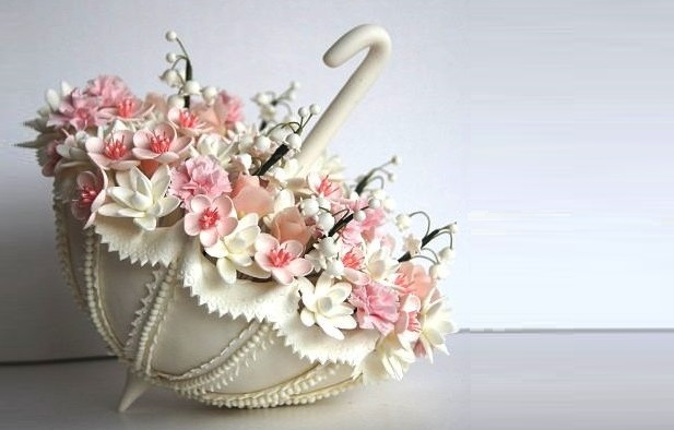 bridal parasol cake topper by Luulla.com