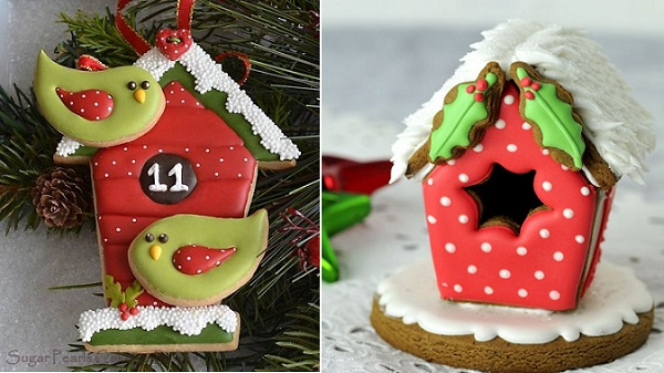 christmas birdhouse cake tutorial gingerbread on Cake Central right, by SugarPearls on CakesDecor left