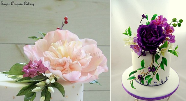 gumpaste flowerbuds and cakes Sugar Penguin left, Cake Virtuoso right with peony, bougainvillea, myrtle