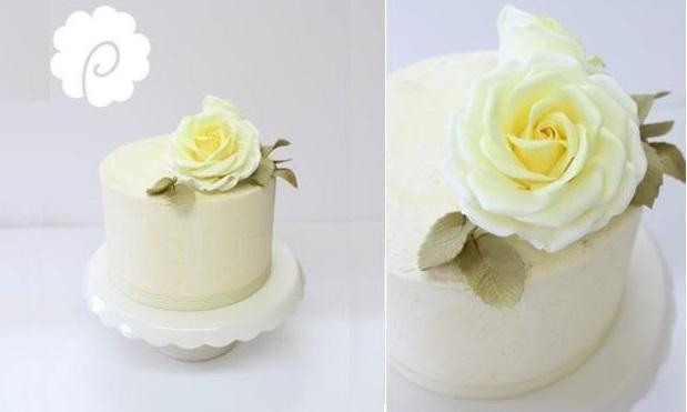 lemon rose cake in buttercream by Poppy Pickering