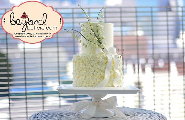 lily of the valley buttercream wedding cake by Beyond Buttercream