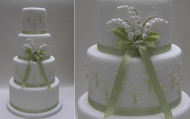 lily of the valley spring wedding cake by ScrumDiddly