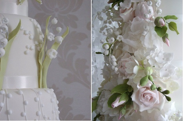 lily of the valley sugar flowers wedding cakes by Maki's Cakes UK