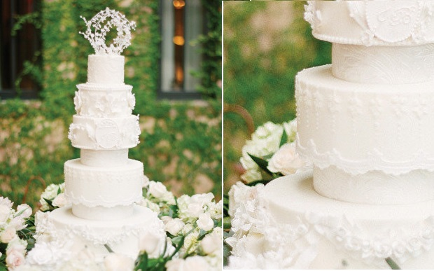 lily of the valley wedding cake lace wedding cake by Party Flavors, KT Merry Photography via Style Me Pretty