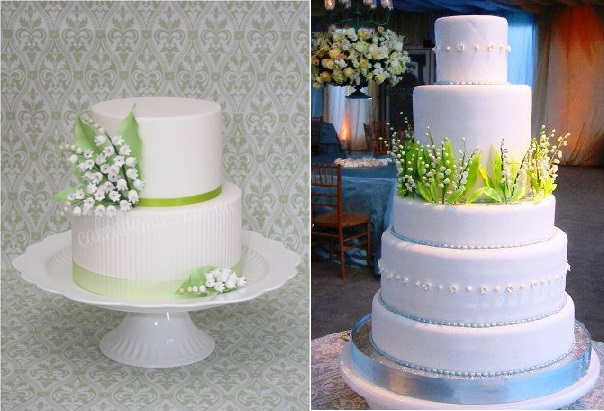 lily of the valley wedding cakes by Cake Avenue left, image right via Pinterest