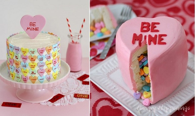 love heart cakes by Butter Hearts Sugar left and Hungry Happenings right