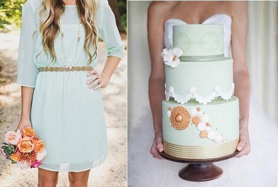 mint wedding cake by The Flour Girl, Sharzy O Photography, via Sweet Style, bridesmaid dress from Etsy via Pinterest