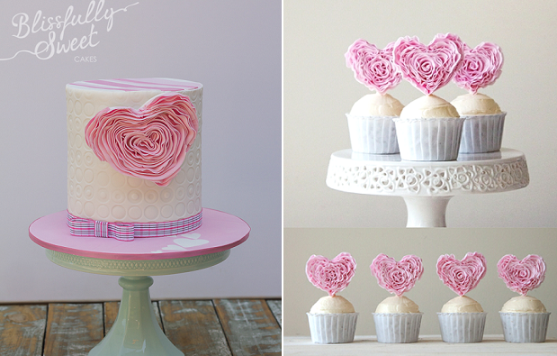 ruffle heart valentines cake by Blissfully Sweet, Style Sweet CA cake toppers via Bird's Party right