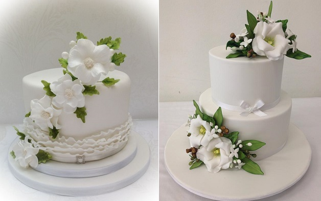spring wedding cakes by Samantha's Cake Design (via CakesDecor) left, Handi's Cakes right