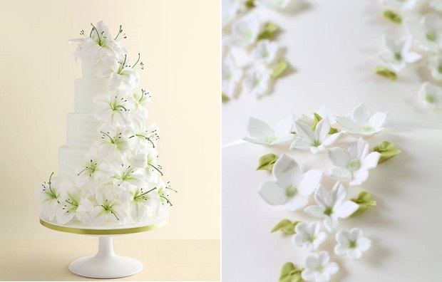 spring wedding cakes by The Hummingbird Bakery left, Wedding Cakes by Judi Delaney, right