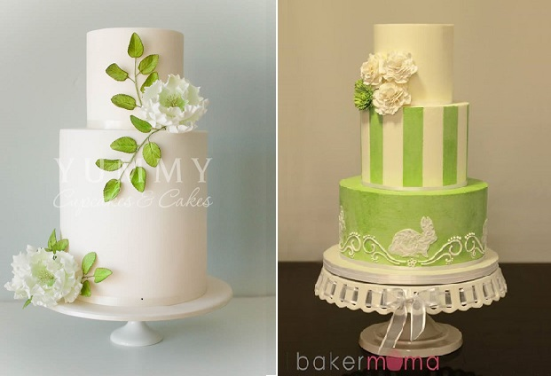 spring woodland wedding cakes by Yummy Cupcakes left and Bakermama right