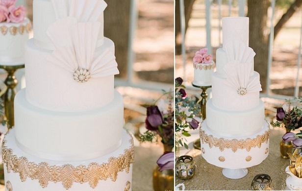 vintage fan wedding cake (Denise H. Witt Neunberger, Mint Photography via Ruffled)