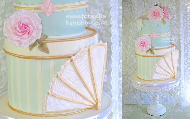 vintage gloves and vintage fan weding cake by Sweet Cheeks Bakehouse UK