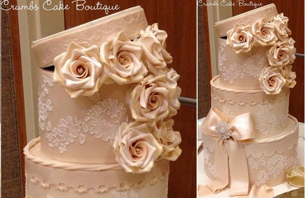 vintage hat box wedding cake by Crumbs Cake Boutique