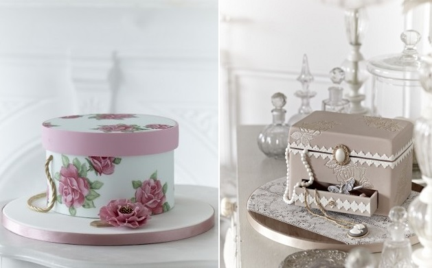 vintage jewellery box cake and hat box cake by Zoe Clark Cakes