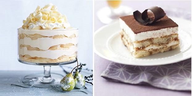 white chocolate and pear tiramisu via Epicurious left, tiramisu right from Delish.com