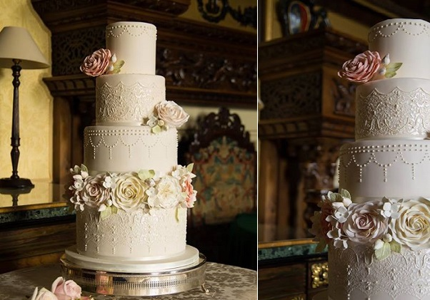 Edwardian wedding cake with edible cake lace by Curtis & Co Wedding Cakes