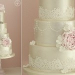 champagne pearl wedding cake by Cotton & Crumbs