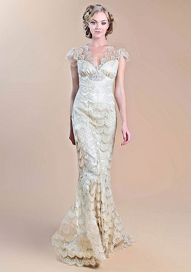 champagne wedding dress by Claire Pettibone Windsor Rose China