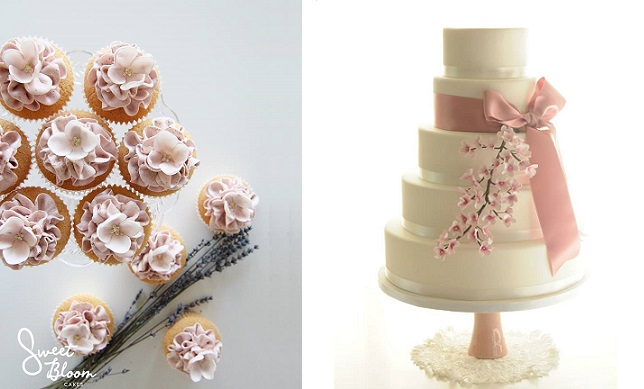 cherry blossom wedding cake by Be Sweet Li right, cherry blossom cupcakes by Sweet Bloom left