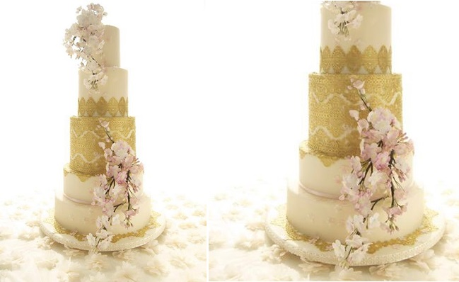 cherry blossom wedding cake by Makiko Searle of Maki's Cakes