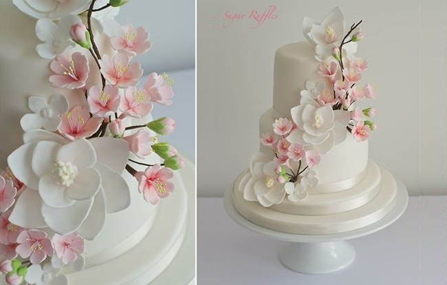 cherry blossom wedding cake by Sugar Ruffles UK