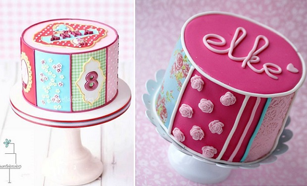 edible icing sheet cakes inspired by Pip Studio designs with cakes by Sweet Lake Cakes left and Cakes by Jantine right