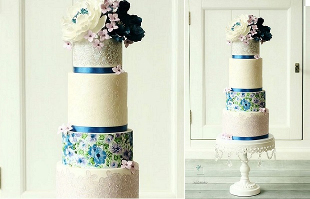 edible icing sheet floral and lace wedding cake by Sweet Lake Cakes