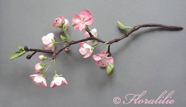 gumpaste cherry blossom branch by Floralilie